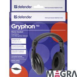 DEFENDER Zestaw słuchawkowy Gryphon 750 czarny